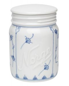 JAR WITH LID, PORCELAIN, 135CL, HAND PAINTED